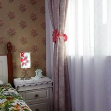 田园风格90平米两室一厅卧室窗帘图片