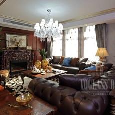 美式风格客厅真皮沙发效果图