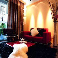 现代风格客厅黑白地毯效果图