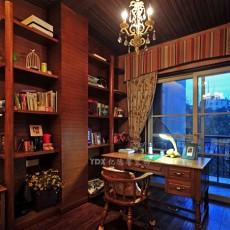 美式风格书房书架书桌效果图