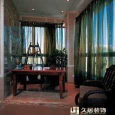 中式古典书房书桌效果图
