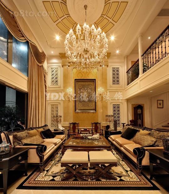 欧式新古典风格复式客厅装修效果图