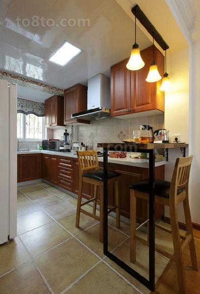 美式田园风格婚房厨房装修效果图