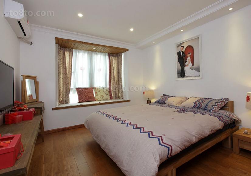 美式田园风格婚房卧室装修效果图