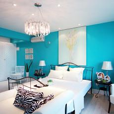 地中海风格蓝白卧室装修效果图