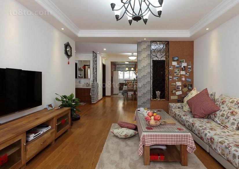 热门79平米田园小户型客厅效果图片大全