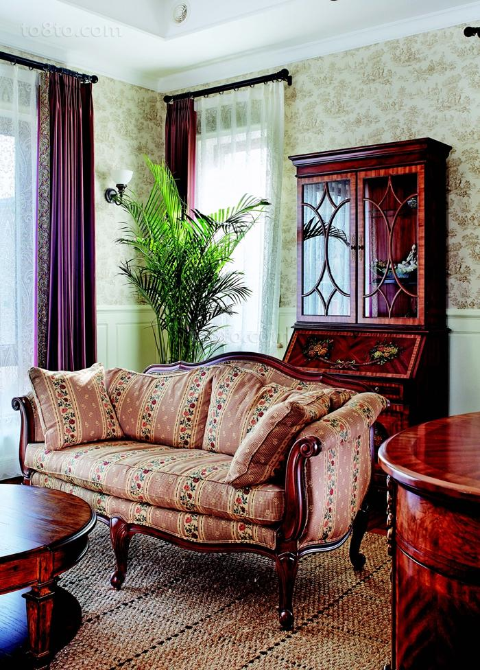 美式田园风格双人沙发效果图