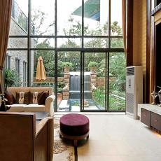 现代中式风格客厅落地窗装修效果图