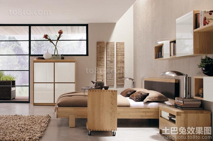 卧室原木色家具图片