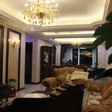 欧式新古典风格客厅连餐厅装修效果图