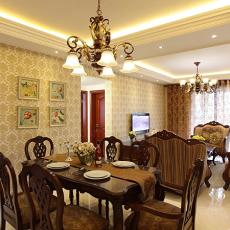 美式风格餐厅连客厅装修效果图