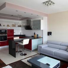 现代风格客厅连厨房装修效果图