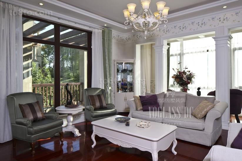 美式田园风格小别墅客厅装修效果图