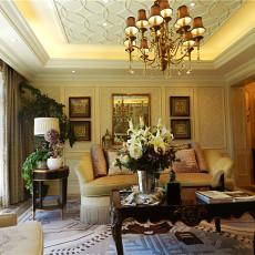 欧式风格别墅客厅沙发背景墙装修效果图