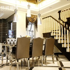 新古典装修风格别墅餐厅效果图
