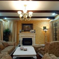 欧式田园风格别墅客厅装修效果图
