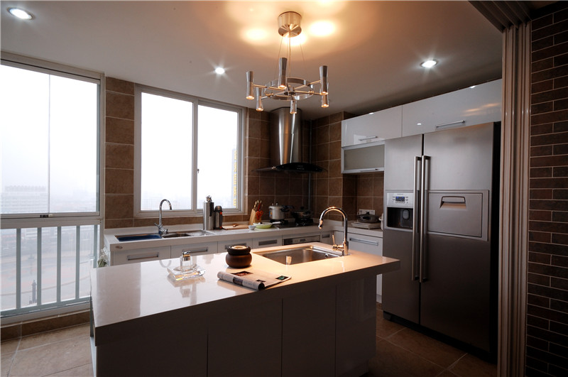 現代簡約開放式廚房效果圖大全