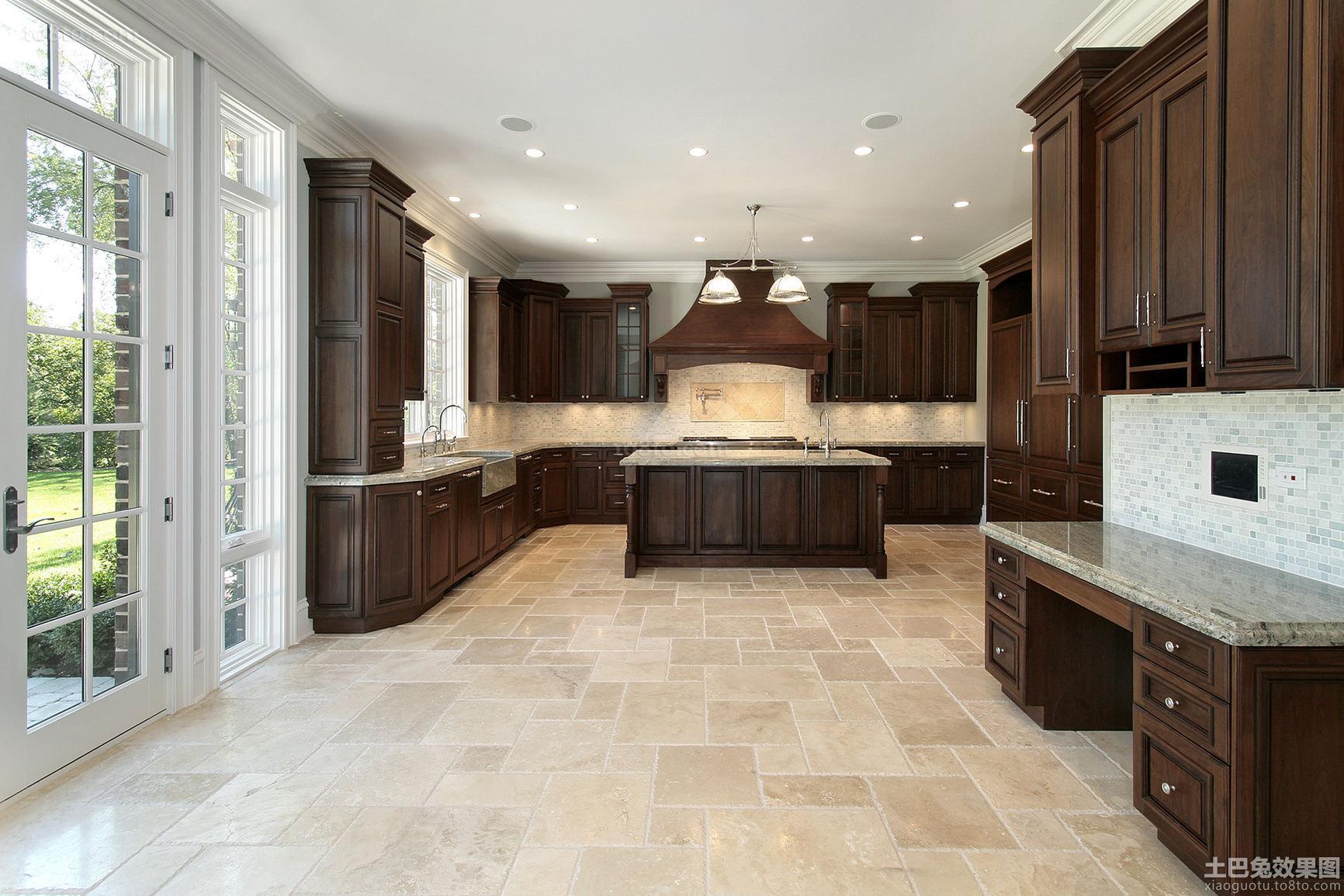 美式家居厨房香槟色橱柜效果图