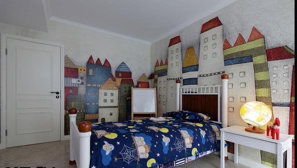 小孩房手绘效果图_经典儿童房手绘墙图片-土巴兔装修效果图