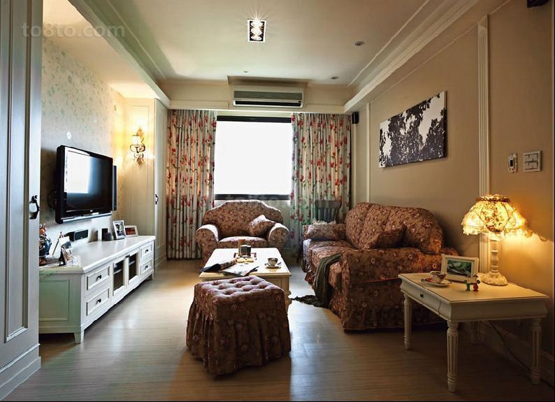 精选92平米三居客厅田园装修实景图片欣赏
