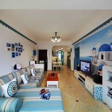 精选面积77平小户型客厅地中海装修图