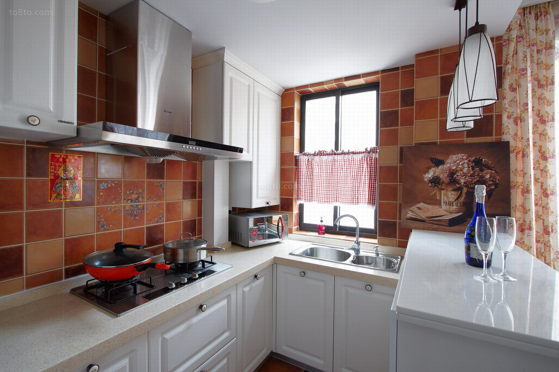 精美面积80平小户型厨房美式装修效果图片欣赏