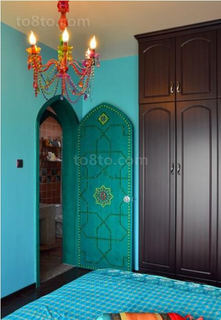 波西米亚风格卧室门效果图