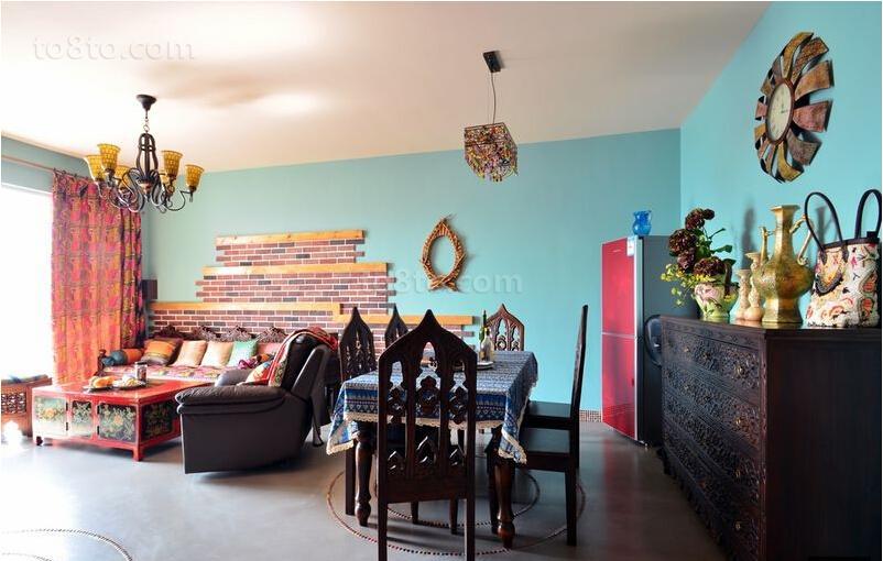 波西米亚风格客厅餐厅图片欣赏