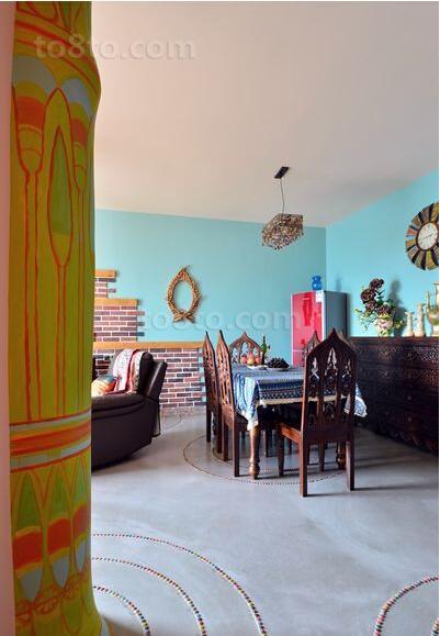 波西米亚风格室内餐厅家具摆放