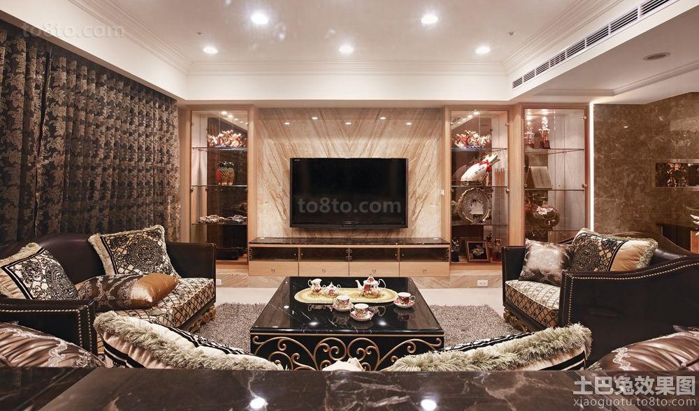 奢华装修客厅电视墙图片