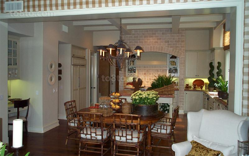 美式田园风格餐厅厨房装修效果图大全