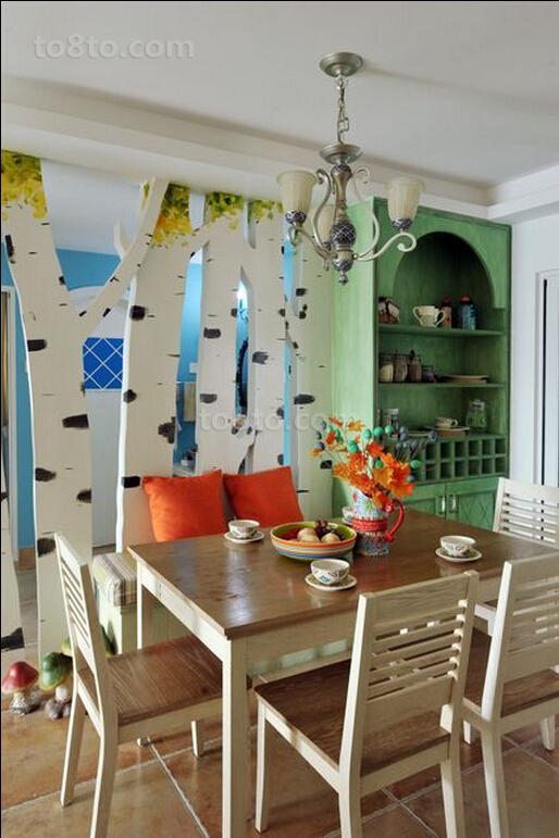 热门80平米田园小户型餐厅装饰图