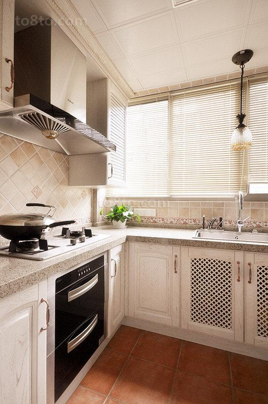 面积75平小户型厨房美式欣赏图片