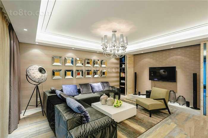 面积88平小户型客厅现代装修实景图片欣赏