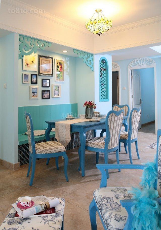 纯美地中海风格两室一厅家庭餐厅装修效果图2017