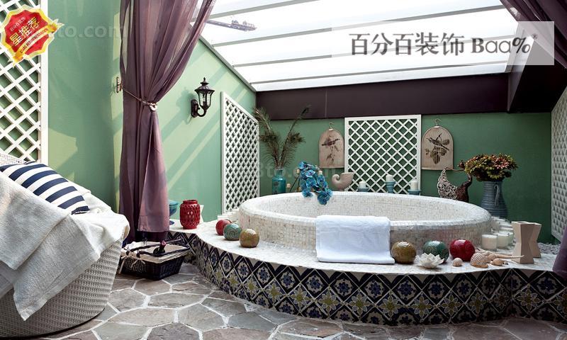 地中海风格室内豪华浴池装修效果图