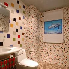现代风格卫生间马赛克瓷砖背景墙效果图