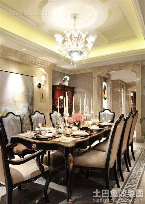 古典美式别墅餐厅吊顶装修效果图