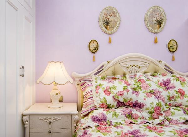 欧式田园风格卧室床头灯具图片