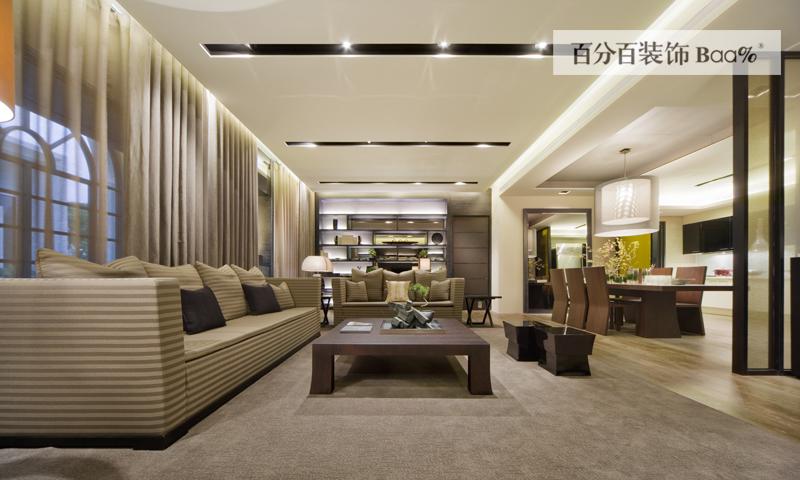 韩式大户型客厅吊顶装修效果图片