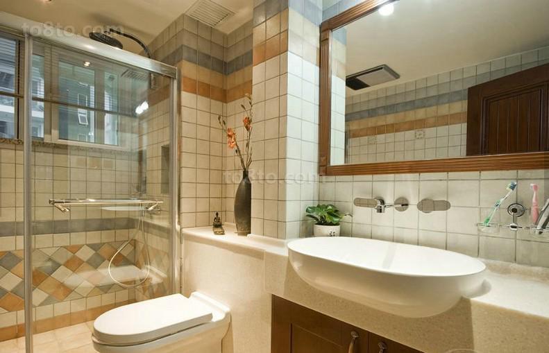 精美87平米中式小户型卫生间欣赏图片