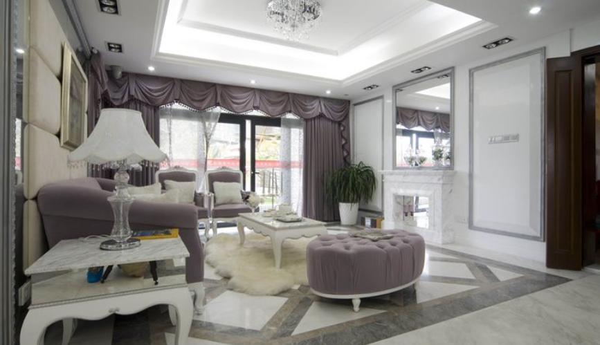 奢华法式客厅吊顶精装修图片