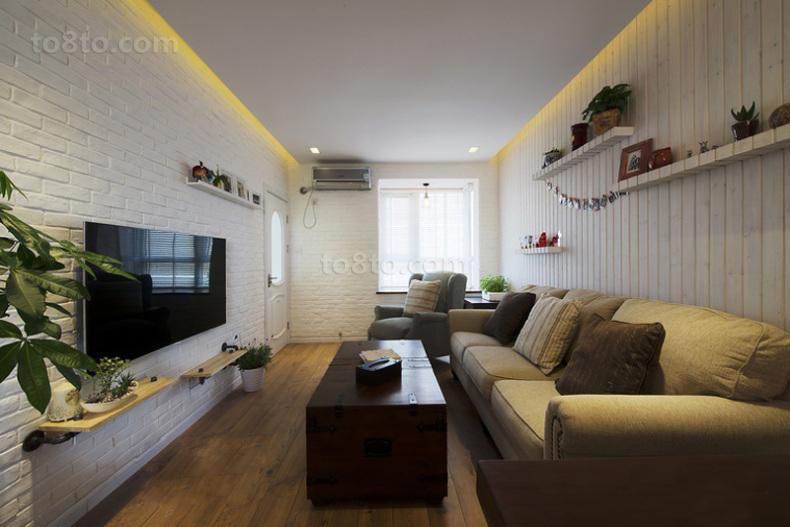 热门面积70平小户型客厅简约装修实景图片欣赏