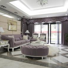 法式两室一厅高档装修客厅效果图片2014