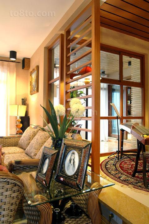 简约韩式客厅实木架隔断效果图