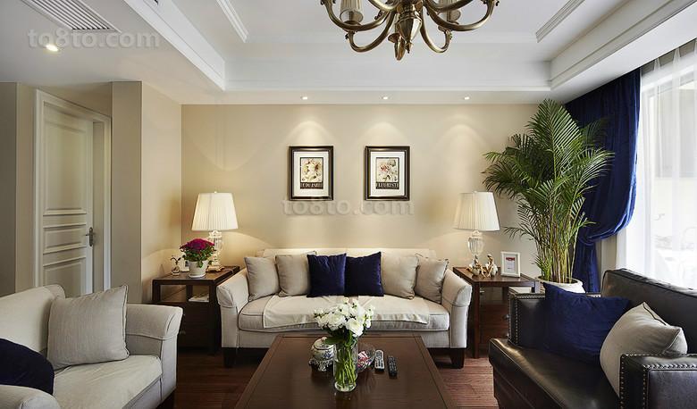 热门面积84平小户型客厅美式装饰图片欣赏