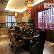 精美76平米东南亚小户型餐厅实景图片