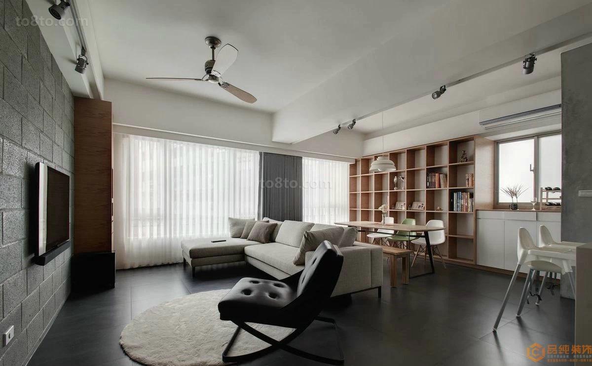 面积76平小户型客厅简约实景图片欣赏
