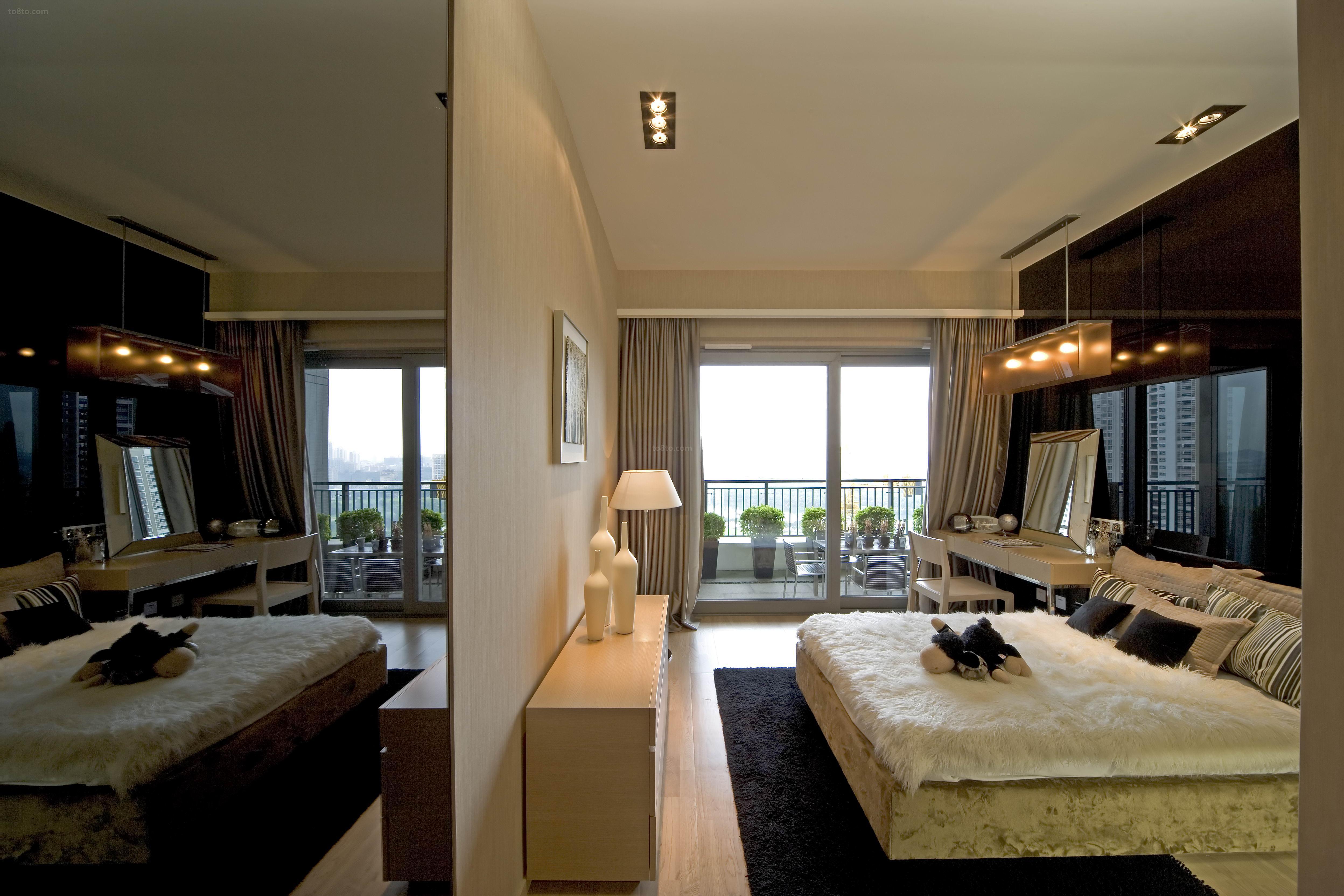 现代豪华卧室隔断墙设计图片大全