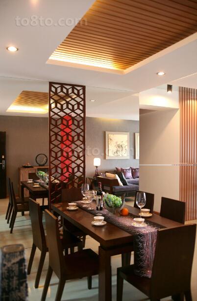 中式风格餐厅客厅隔断装修效果图